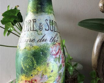 """Decorated bottle-""""Isidore and Suzie tea"""""""