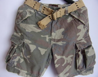 Vintage Men's Shorts/Military Style Shorts/American Rag Cie Shorts/Camouflage Print /Cotton Shorts/With Pockets/Large Belt/Size Waist 35''