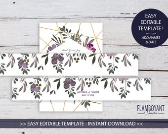 Floral Invitation Belly Band, Printable Template, Wedding Belly Band, DIY Editable printable belly band, Muted Floral, INSTANT DOWNLOAD