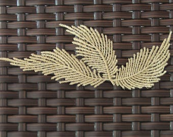 1 pair Gold Embroidery Leaf Lace Applique Patch DIY Trim Clothing Accessories, WL1661
