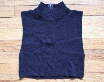 90s Grunge Knit Black Mock Turtle Neck Cropped Top