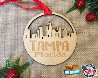 Tampa Florida Ornament *** Skyline Christmas Holiday Ornament *** FL