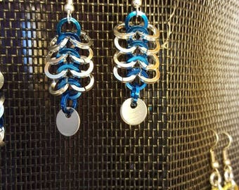 Blue and silver 4 in 1 weave earrings