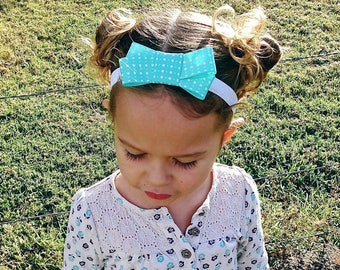 Mint green white polka dot headband