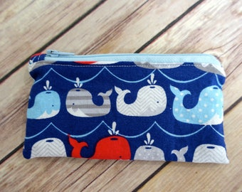 Small Snack Bag-Blue Whales, Reusable Waterproof
