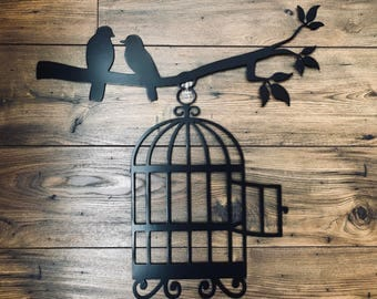 Birdcage on a Branch/Metal Wall Decor/Metal Wall Hanging/Birthday/Wedding/Anniversary/Housewarming Gift