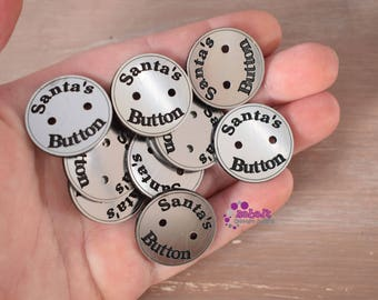 Laser cut and engraved Acrylic or Plywood Santa's Buttons