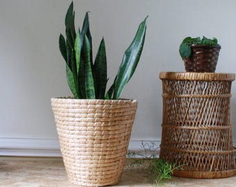 Straw woven boho planter basket