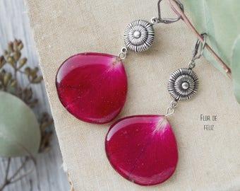 Red rose earrings, Rose drop earrings, Real flower earrings, Ped silver earrings, Epoxy resin jewelry, Vintage jewerly, Botanical earrings