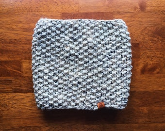 Classic Seed Stitch Infinity Cowl - Off White Tweed