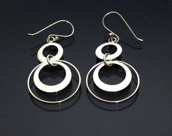 925 Solid Sterling Silver CIRCLE In Hoop  Earrings/Hook/Dangling/Polished/Oxidized