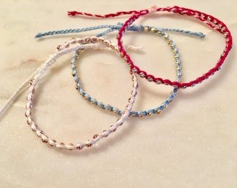 Friendship bracelet gold, white gold, rose gold diamond cut 4mm