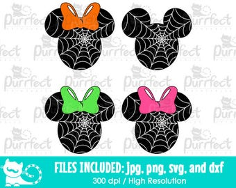 Mickey and Minnie Spider Web Face SVG, Disney Halloween Spider Web SVG, Disney Digital Cut Files in svg, dxf, png and jpg, Printable Clipart