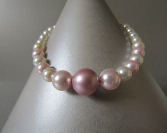 Swarovski Crystal Pearl Bead Bracelet Cream and Pink