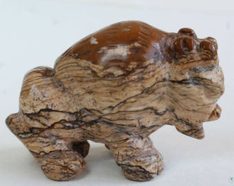 Buffalo Bison Carving Stone Carving Animal Fetish Figurine Picture Jasper