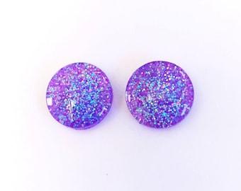 The 'Lavender' Glitter Glass Earring Studs