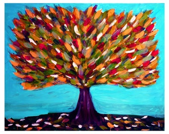 wall art trees, tree oil painting, tree print, tree artwork, red trees, nature prints, whimsical art prints, tree of life wall art