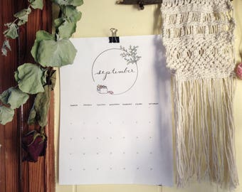 2018 Eco-Friendly Wall Calendar - Hand Illustrated - Printed on 100% Recycled Card Stock - Teacher gift, gift for her, home and dorm decor