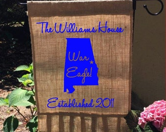 Auburn University Burlap Flag, Garden Flag, War Eagle, Last Name Sign,  Ruffled