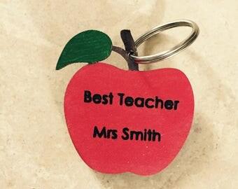 End of year teacher apple key ring engraved