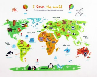 World map decal etsy world map decal world map sticker world map mural wall decal home gumiabroncs Images