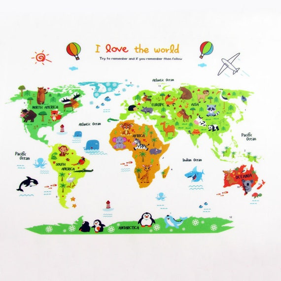 World map decal world map sticker world map mural wall like this item gumiabroncs Choice Image