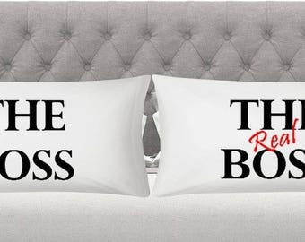 boss real boss pillowcase king and queen his and hers Christmas