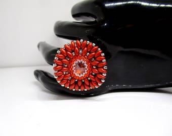 Embroidered art deco Swarovski Crystal ring.