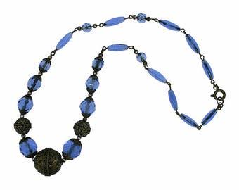 1920s Blue Glass Bead and Gilt Metal Vintage Czechoslovakian Necklace