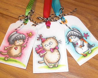 Gift tags, set of three, Cats!