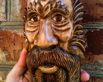 tree spirit, carved wood face, wood mask, wood spirit, wood carving, woodcarving, Wizard Tree Face, wall mask, wooden figure Halloween Decor