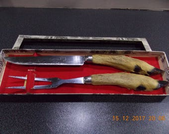 Vintage French Deer hooves / feet Meat carving utensels knife and fork set