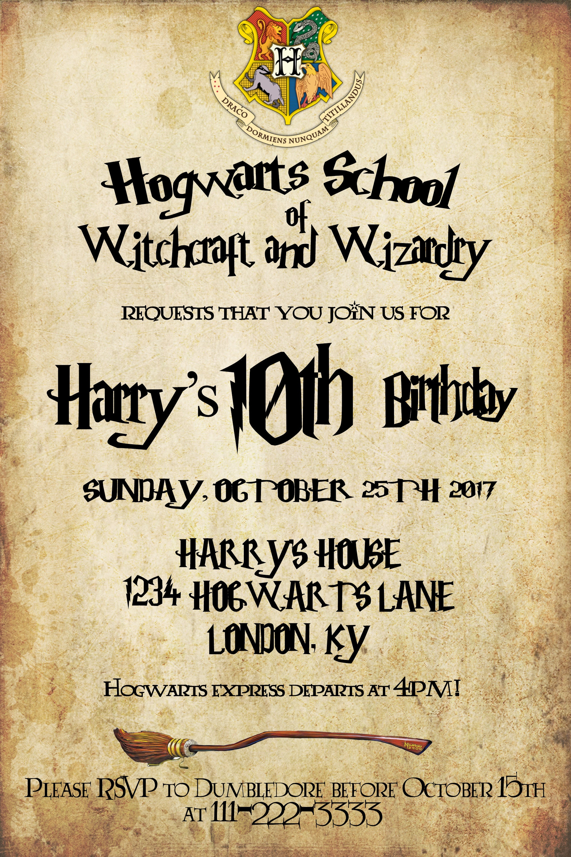 Harry Potter Invitation Harry Potter Birthday Harry Potter Party
