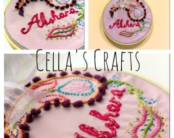 Decorative hanging on a hoop embroidered name
