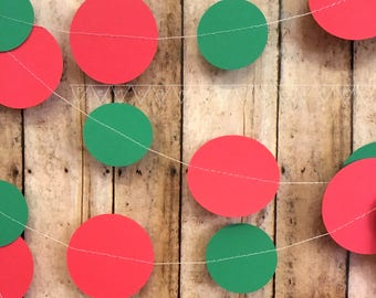 Christmas Paper Garland, Red and Green Paper Circle Garland, Holiday Decorations, Christmas Decorations