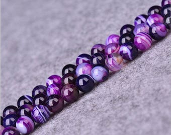 Purple banded agate round Ball loose gemstone beads strand 16'' 4mm 6mm 8mm 10mm 12mm
