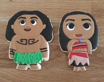 Moana and Maui Inspired Cookies