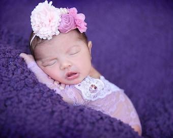 photo infant prop, mauve lace one-piece, mauve & white trim, long sleeve, lace trim, newborn