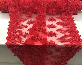 Bridal Beaded - Lace Fabric Red Embroidered Mesh Dress Flower-Floral Wedding Veil By The Yard