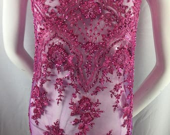 Fuchsia Embroidered Beaded Fabric - Lace Heavy Beads For Bridal Veil Flower-Floral Mesh Dress Top Wedding Decoration By The Yard