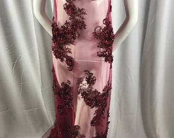 Lace Fabric - Diamonds 3D Flower Beaded Embroidery Burgundy Mesh Dress Wedding Decoration Bridal Veil By The Yard