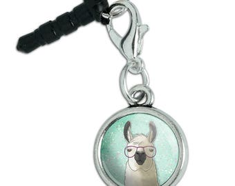 Hip Llama with Glasses Mobile Cell Phone Headphone Jack Anti-Dust Charm fits iPhone iPod Galaxy