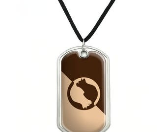Cat Sitting Silhouette Military Dog Tag Pendant Necklace with Cord