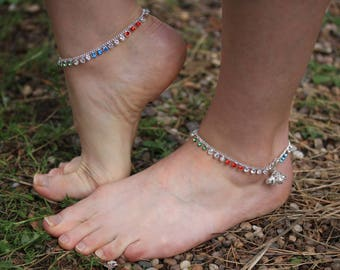 Anklet bell multi coloured Diamonte Anklet with bells - Handmade payal Anklet Bollywood dance Ankle Chain - beach foot bracelet- Pair Anklet