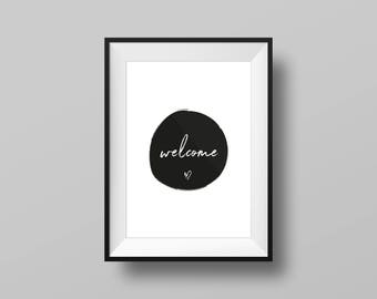 Welcome Art Print, Black and White, A4, A3