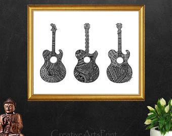 Guitar, Guitar Print, Guitar Poster, Musician Gift, Guitar Art Print, Home Decor, Music Decor, Doodles, Gift for Musician, Decorative Print