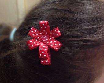 Handmade girl Ribbon red dots - girl hair clip hair Barrette
