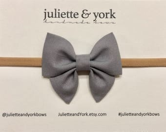 Gray Mini Sailor Bow {Nylon Headband or Alligator Clip} baby bows, baby bow headband, bow clips, nylon headband