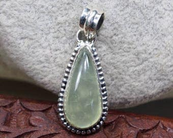 "Prehnite Pendant,925 Sterling Silver Pendant,Natural,Gemstone,Gift for Girlfriend,for Wife Birthday Party,1.4"" D991"