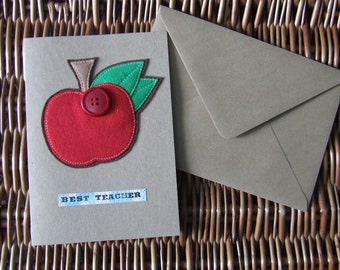 Handmade Sewn Card (Best Teacher)